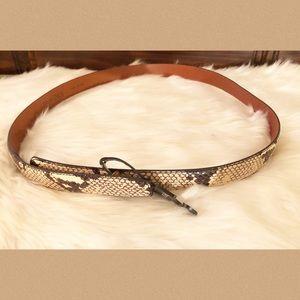 Plus Size Snake Print Italian Leather Belt NWT